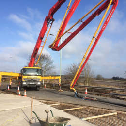 Concrete Pumping for new Bridge Deck at Westley Bridge in Bury St Edmunds